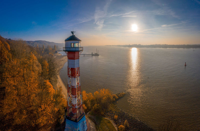 The elbe in hamburg with a lighthouse