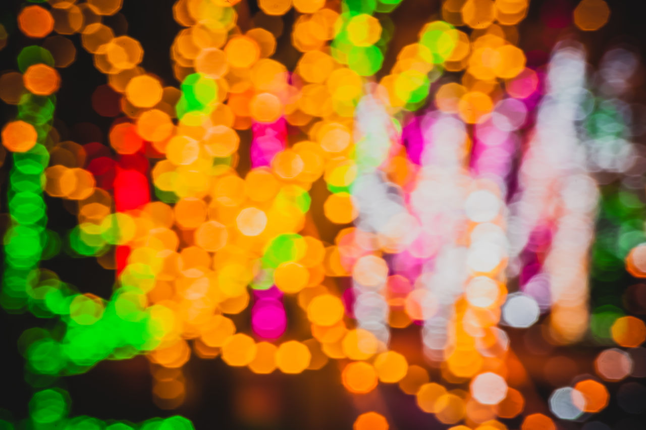 multi colored, illuminated, night, defocused, light effect, backgrounds, lighting equipment, celebration, colorful, glowing, abstract, no people, pattern, full frame, christmas lights, outdoors, close-up, spectrum, disco lights