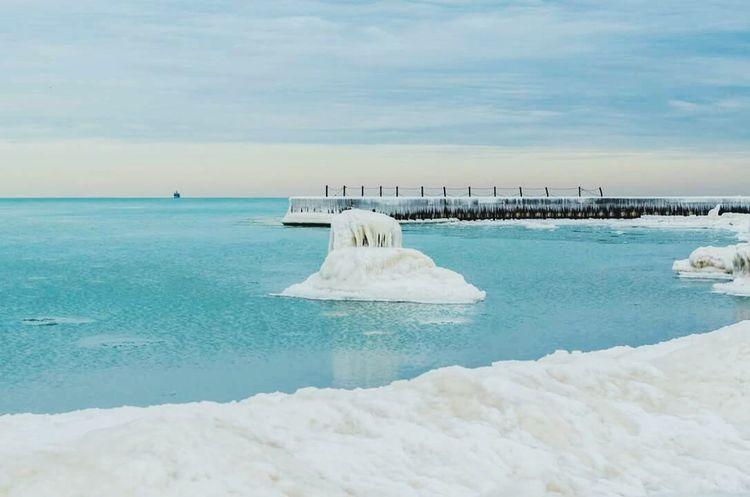 Ice on Lake Michigan Winter Chicago Chiberia