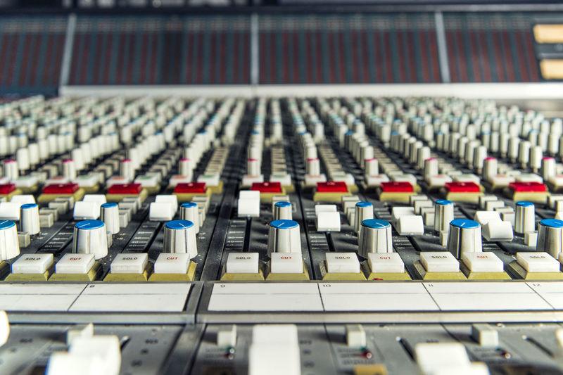 Close-up of sound mixer