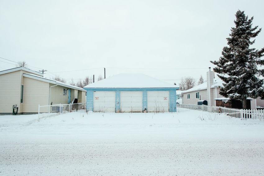Architecture Blue Cold Dilapidated Garage Minimal Minimalist Old Snow Winter Yellowknife