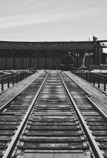 Away We Go Black And White Blackandwhite Lines Natural Light Railroad Track Rail Transportation Sky Built Structure Railroad Station Platform Railroad Station Train Railroad Platform Locomotive