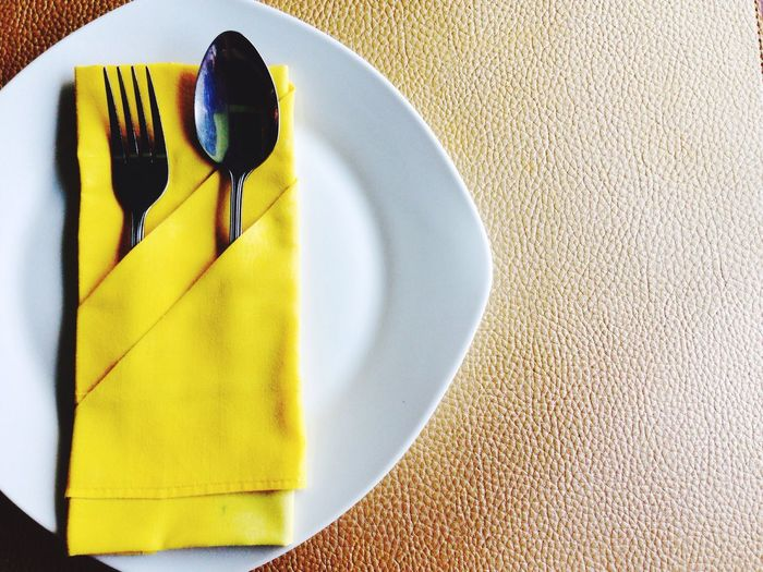 No People Close-up Indoors  Paper Day Dish Plate Lunch Food And Drink Hungry Yellow Spoon And Fork Napkins