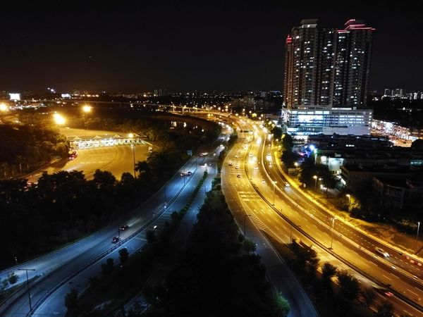 Highway Night view. Which road taken do you prefer? 😁 Malaysia Light In The Darkness Light Night Illuminated Speed Road City Cityscape Sky Traffic Light Trail No People Long Exposure Outdoors Skyscraper Highway Highwayphotography Highwayscape Highwaydrive