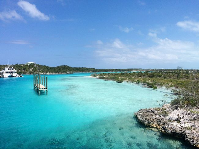 Sea Water Tranquil Scene Scenics Sky Beauty In Nature Tranquility Nature Blue Day Cloud - Sky Outdoors Horizon Over Water No People Landscape Travel Destinations Beach Beauty In Nature Exuma Vacations Tourism Deck Yacht