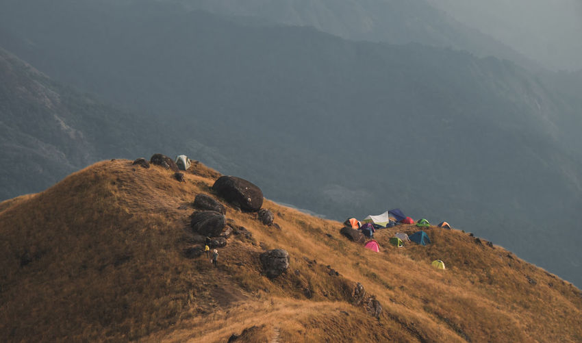 Panorama scenic mountain peaks and ridges stretching during the evening at mulayit taung in myanmar.