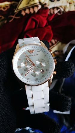 Armani Armani Watch White Gold Time Clock Watch Close-up No People Indoors  Clock Face