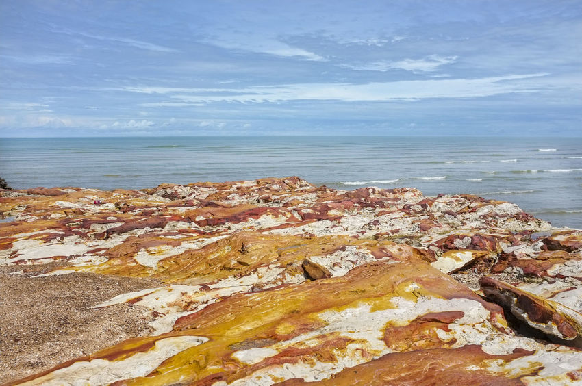 The rocks at East Point, Northern Territory, Australia. East Point Darwin Australia Beach Beauty In Nature Cloud - Sky Day Horizon Over Water Nature No People Outdoors Scenics Sea Sky Tranquil Scene Tranquility Water