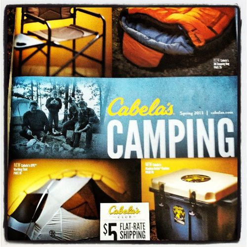 I want to go camping soon! Maybe this is a sign? Cabelas Catalog Camping