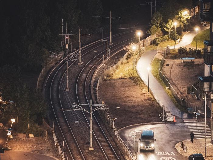 Overhead view of railroad tracks in Årstadal, stockholm, sweden