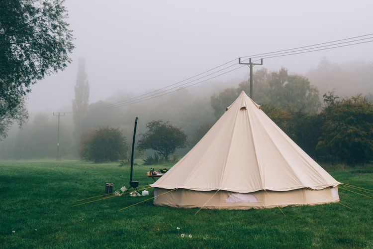 Autumn Bell Tent Rustic Bushcraft Cable Camping Camping Stove Camping Stoves Day Environment Field Fog Foggy Foggy Morning Grass Land Landscape Mist Nature Outdoors Plant Tent Tranquil Scene Tranquility Tree