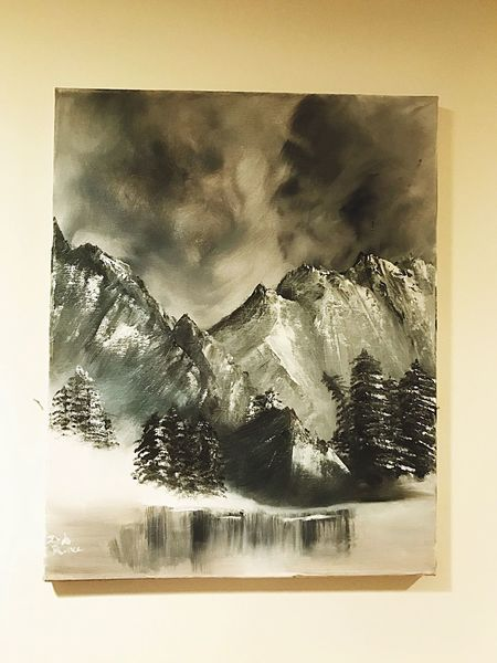 20x24 mountain painting done by me! Grey daze. ArtWork Art Is Everywhere Art Photography Nature Photography Backgrounds EyeEm Nature Lover Full Frame Nature_collection Beauty In Nature Paint Painter Painting Painted Image Mountains Mountain View Mountain Range Mountain_collection The Great Outdoors - 2017 EyeEm Awards