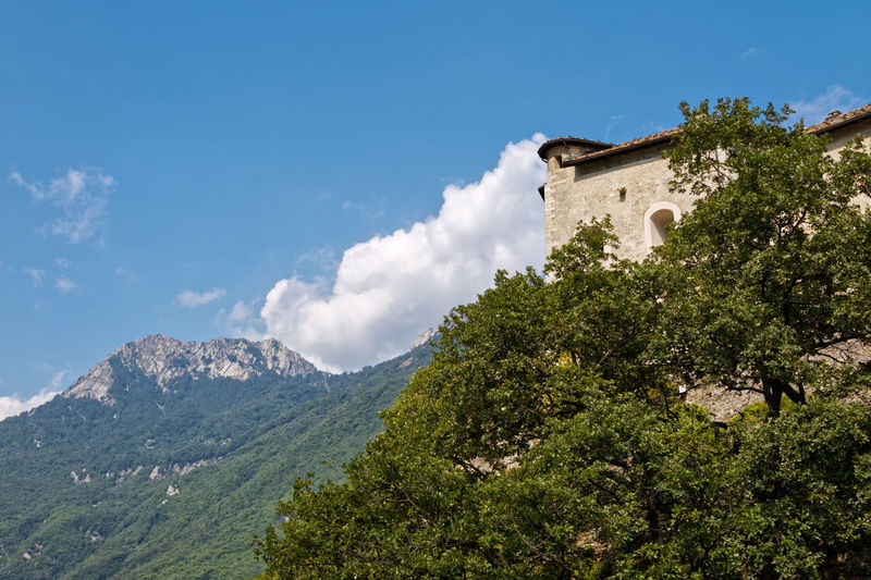 Low angle view of castle against mountain