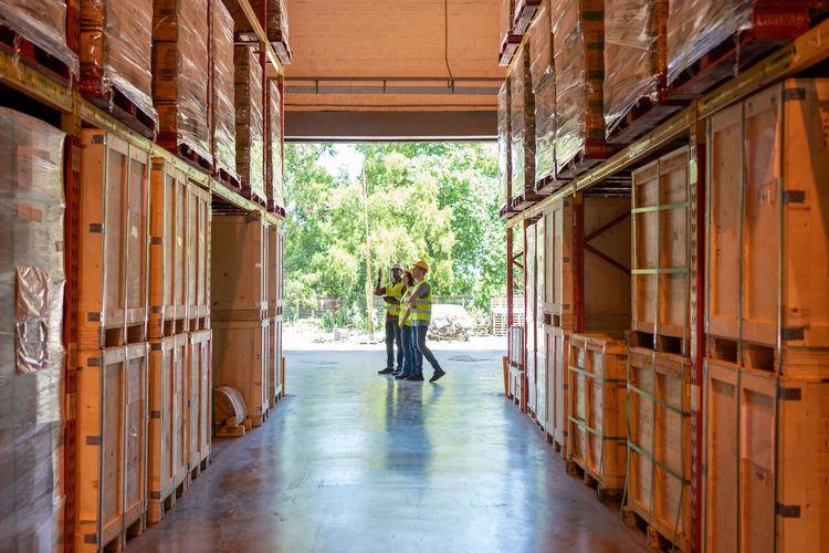 Man working in corridor of building