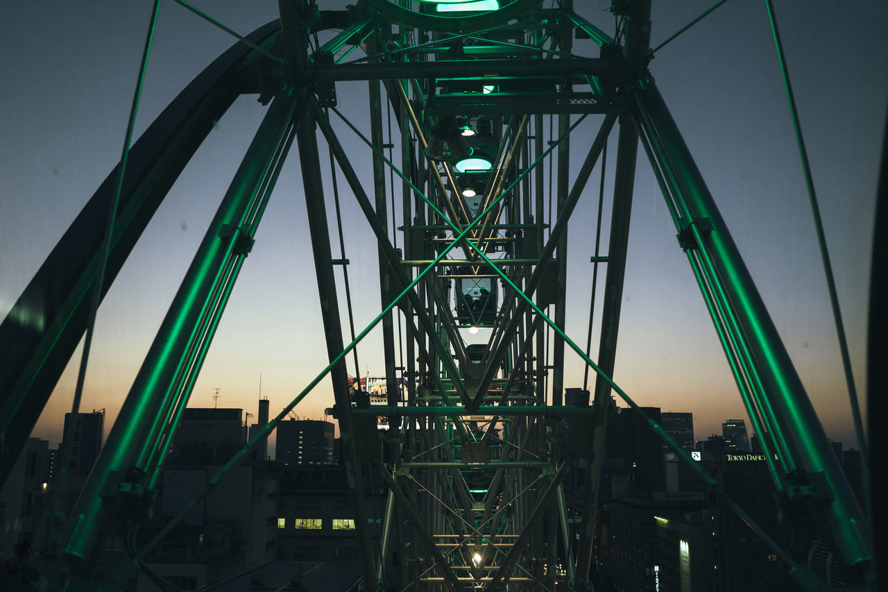 metal, architecture, connection, built structure, bridge - man made structure, outdoors, sky, no people, low angle view, night, girder