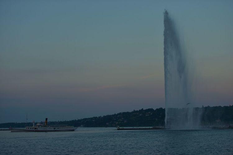 Blue Geneva By Night Geneva Lake Nautical Vessel Outdoors Sky Tourism Vacations Water Water Jet