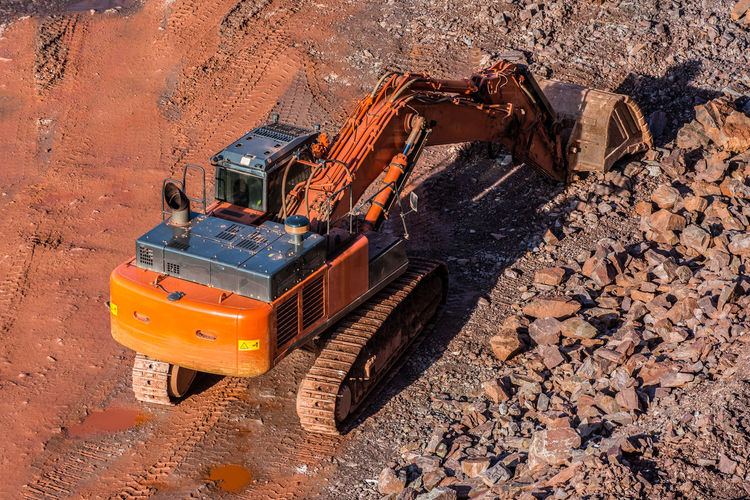 High angle view of excavator