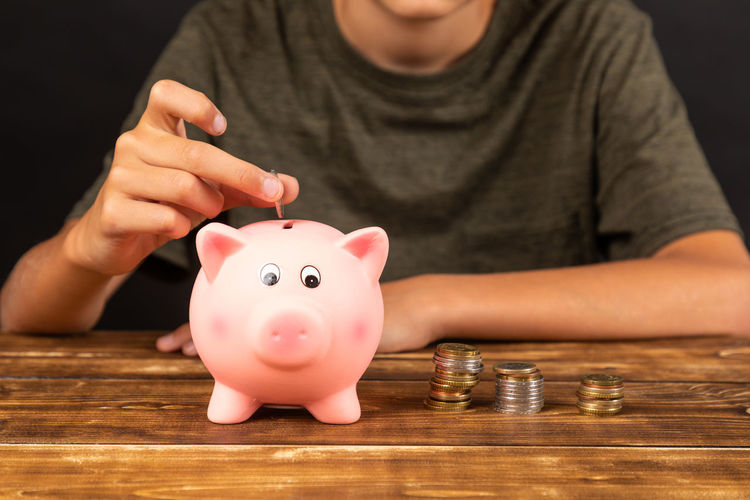 Bank Piggy Money Coin Banking Saving Currency Woman Finance Investment Wealth Save Hand Indoors  Success Financial Cash Background Putting Savings person Business White Pig Security Euro People Black White Numbers Piggybank Desk Wooden
