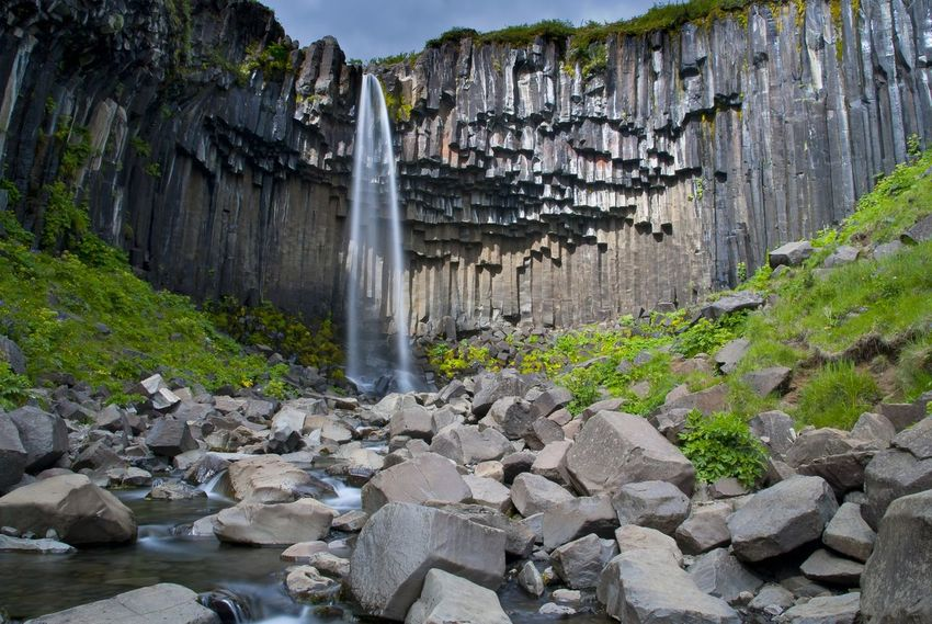 Svartifoss surrounded by it's iconic pillars of basalt Foss Svartifoss Skaftafell Basalt Basalt Columns Basalt Rock Niceland Waterfall Motion Water Rock - Object Power In Nature Long Exposure Tourism Rock Formation Travel Destinations Scenics Nature Outdoors Vacations No People Beauty In Nature