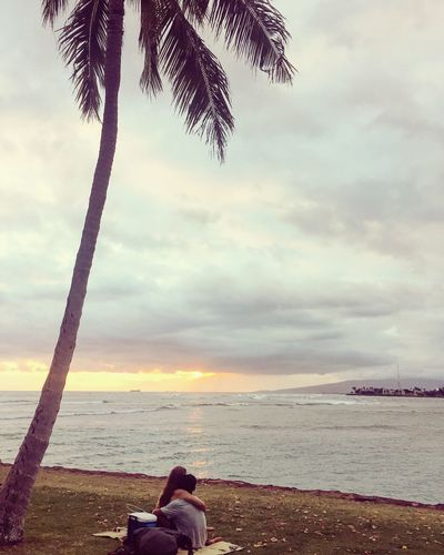 Romantic Sea Water Beach Cloud - Sky Sky Real People Palm Tree Nature One Person Lifestyles Leisure Activity Horizon Over Water Beauty In Nature Sunset Hug Date Couple Hawaii Magicisland Outdoors Men Scenics Sitting Day EyeEmNewHere