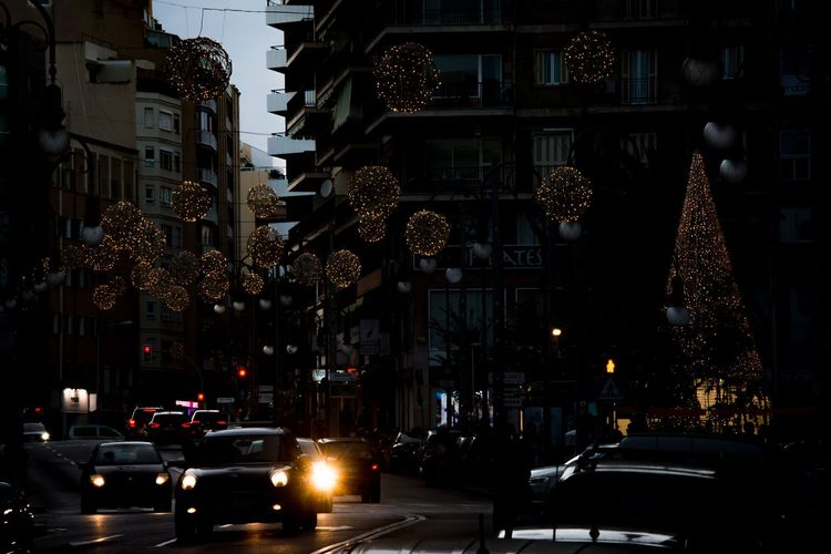 Christmas in Palma Car Architecture City Building Exterior Street Land Vehicle Transportation No People Illuminated Mode Of Transport