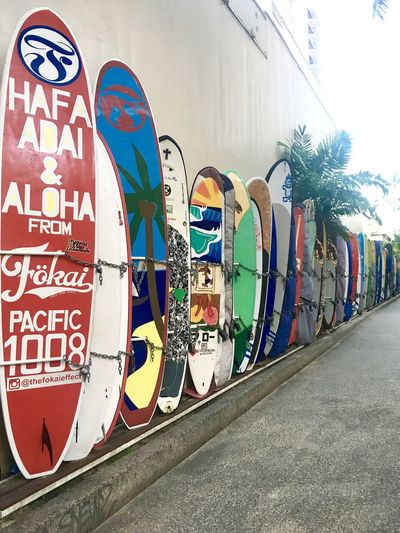 Hawaii Hawaii Life Holiday Tourist Attraction  Waikiki Activeandnourished Aloha Day Multi Colored No People Outdoors Surfboard Surfboard Lane Surfboards Text