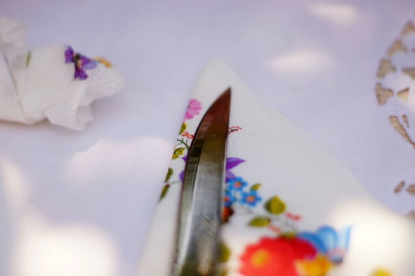 Knife Tablecloth Waiting For Food Coloured Festive Flower Flying City Sky Pollen