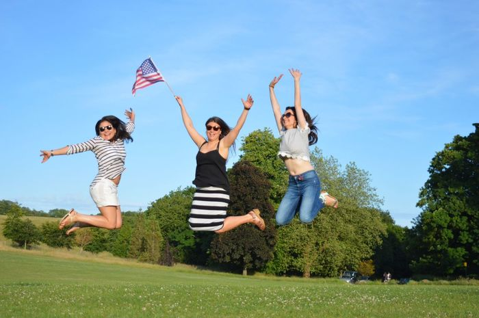 Jumping Flag America United States Friends Celebrating Celebration Jumpshot