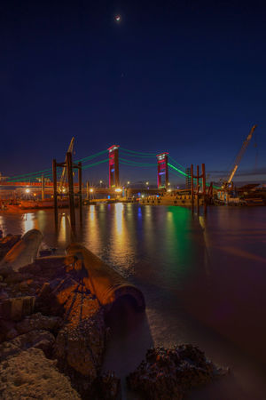 ampera bridge 2 Ampera AmperaBridge Ampera Bride, Palembang, Indonesia City Water Illuminated Sea Cityscape Business Finance And Industry Sky Crane - Construction Machinery Cable-stayed Bridge