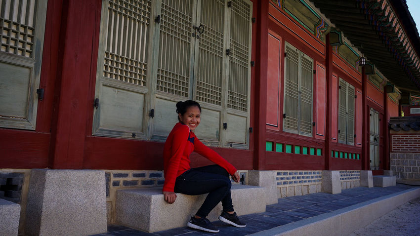Red Teenager Full Length One Person People Adult Young Adult Outdoors Day City Looking At Camera Travel Photography Seoul Travel Destination Gyeongbokgung Happiness Solotraveler One Young Woman Only Building Exterior Architecture Tourism Culture And Tradition Smiling South Korea Woman Power Be. Ready. EyeEmNewHere One Step Forward Step It Up Fashion Stories Love Yourself