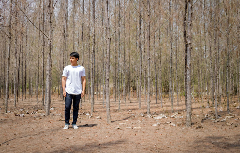 Full length of man standing in forest