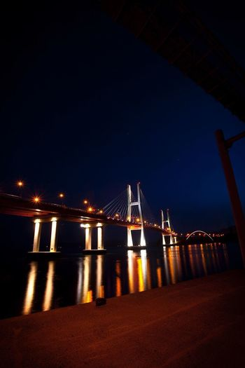 Bridge - Man Made Structure Suspension Bridge Connection Architecture Night Illuminated Built Structure Engineering Transportation Travel Destinations No People Outdoors Travel River Water City Sky Nature Building Exterior