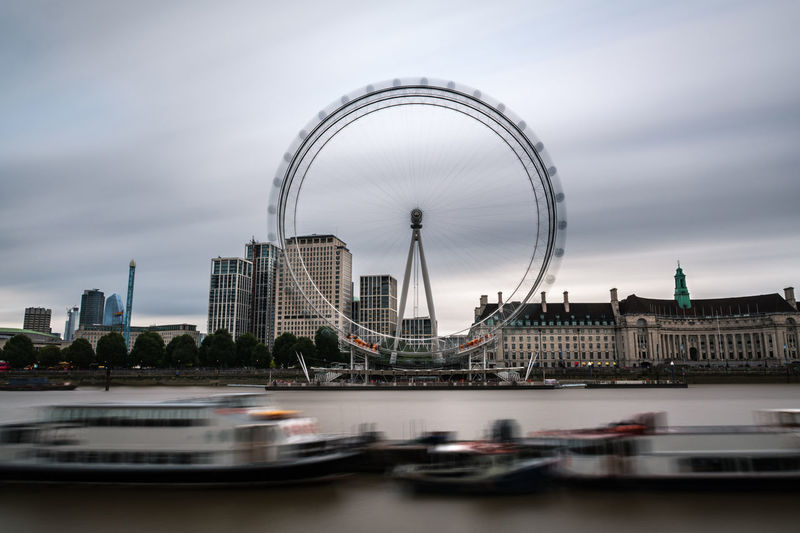 London cityscape by the river thames with the millennium wheel on a grey rainy summer day.