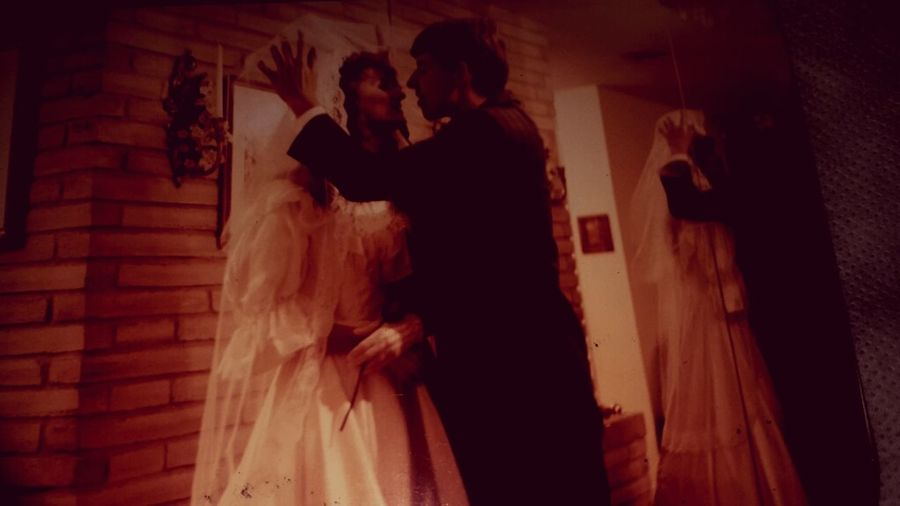 We were married in upstate NY and my 35mm film was exposed so we took these a year later to have some memories. But Judge Howard George in Watertown NY had the most beautiful back yard that we got married in.... i want one day to go back there.....wishes are like petals, flowing away in the wind.... Horror Bride Wedding Dress Young Adult Adults Only People