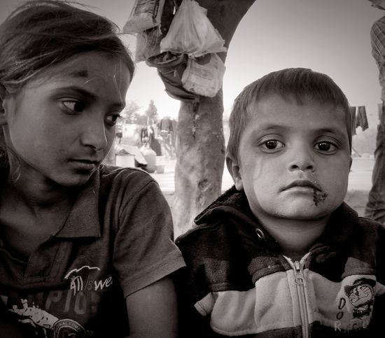 Portrait Looking At Camera Headshot Close-up Togetherness OutdoorsChild Kids Golden Hair  Human Body Part People Day Shy Innocence Expressions Expression Childhood Front View Human Face Human Eye Look Attitude Focus Poor Kids Blackandwhite