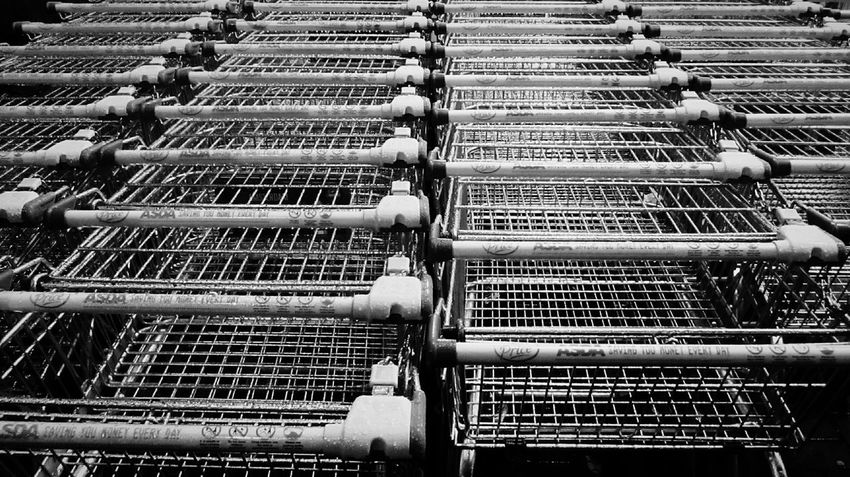 Sea of Trolleys at the supermarket❕🌙☺ Black And White Photography Shiny All In A Row Trolleys The Week Of Eyeem Black And White Pattern Abstract Urban Geometry Urban_collection Pattern, Texture, Shape And Form The Week On Eyem Rows Of Things Eye4photography  Urban Landscape Textures And Surfaces Urban Exploration