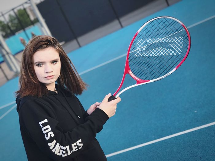 Tennis Sport Tennis Racket Court Tennis Ball Brown Hair One Person Women Outdoors One Woman Only Playing Lifestyles Only Women Sports Clothing Leisure Activity Young Adult Tennis 🎾 Day Adult Athlete Portrait Slazenger