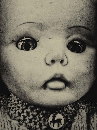 Something Scary this Way Comes.... Detail Documentary Reportage Photography Still Life Doll Face Doll Photography Eyes Blinking Close Up Black & White Toned Head Shot Pictures Blank Face Human Face Such A Blank Expression .