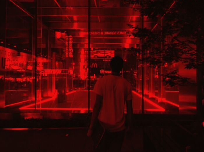 Rear View Real People One Person Night Standing Illuminated Leisure Activity Lifestyles Men Red Indoors  Building Exterior Architecture City One Man Only Young Adult Adult People