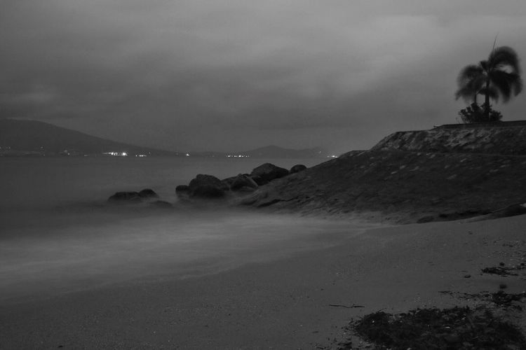 Dawn at the beach in B&W Sky Cloud - Sky Beauty In Nature Scenics - Nature Land Nature Water Beach Tranquil Scene Tranquility Sea No People Idyllic Outdoors Landscape Tree Horizon Dusk