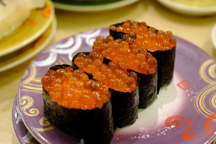 Close-up of red caviar on plate