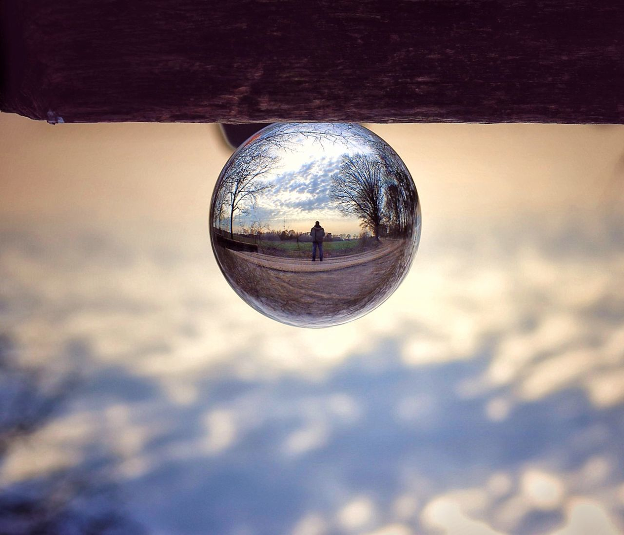 reflection, sky, crystal ball, outdoors, close-up, no people, day, landscape, nature, tree