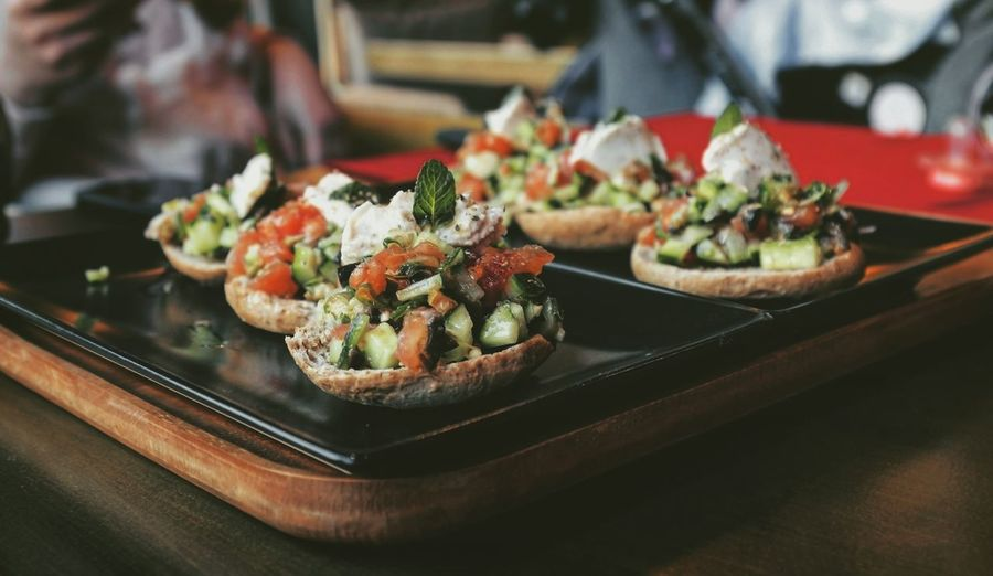 Bruschetta Food And Drink Healthy Eating Healthy Food Taking Photos Feeling Creative OpenEdit EyeEm Best Shots Freshness Delicious Yummy High Angle View Appetizer Vegetable