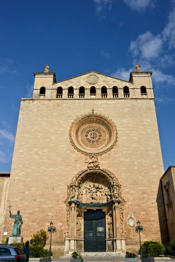 Saint Eulalia church exterior in Palma de Mallorca Architecture Built Structure Building Exterior Low Angle View Place Of Worship Belief Religion Spirituality The Past No People Outdoors Travel Destinations Saint Eulalia Palma De Mallorca Day Sky History Building Church Architecture