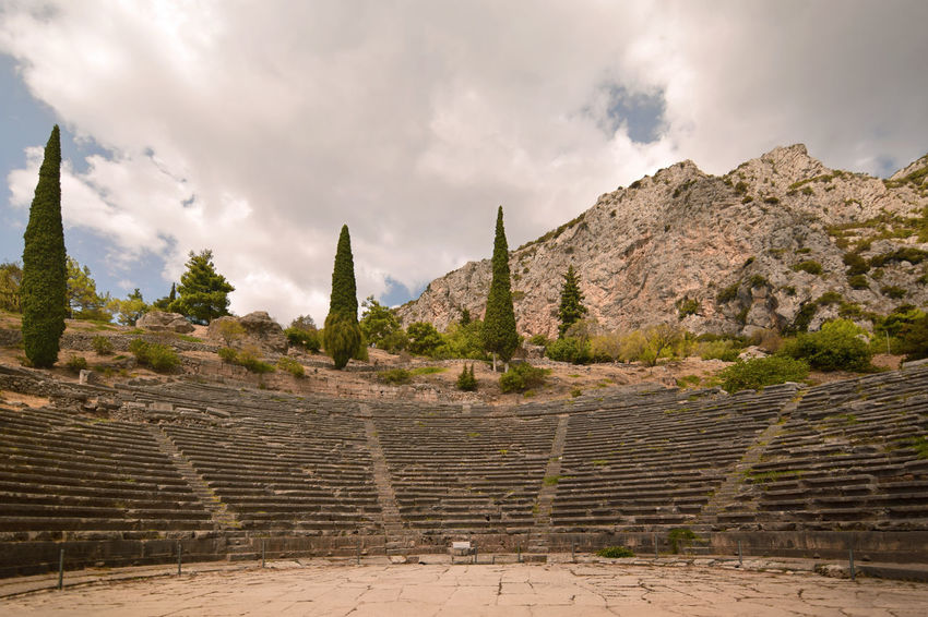 Ancient Stadium at Delphi, Greece Delphi Stadium Ancient Ancient Civilization Archaeology Architecture Built Structure Cloud - Sky Day Greece History Mountain Nature No People Old Ruin Oracle Outdoors Plant Ruined Sky Staircase The Past Tourism Travel Travel Destinations
