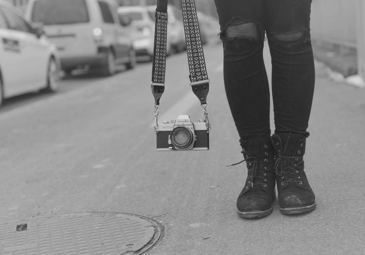 Analog Camera EyeEm Selects Low Section Human Leg Shoe Standing Real People One Person Close-up Day Outdoors Human Body Part People