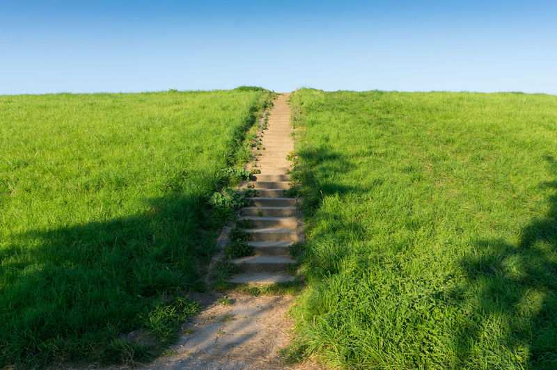 Dike Field Footpath Grass Grassy Green Color Hill Landscape Narrow Nature No People Pathway Sky Stairs The Way Forward Tranquil Scene Tranquility Walkway