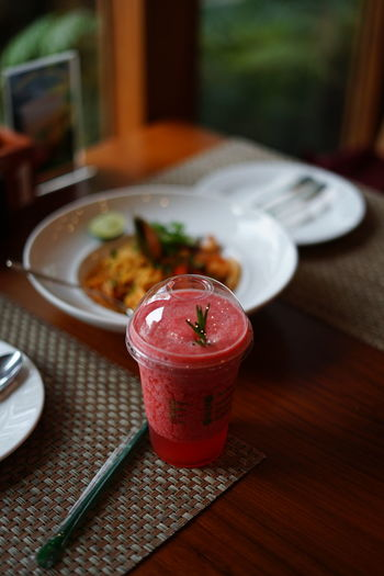 No People No Person Day Strawberry Dish Wooden Tabletop Dinner Blood Orange Drinking Glass Smoothie Close-up Food And Drink Served Pastry