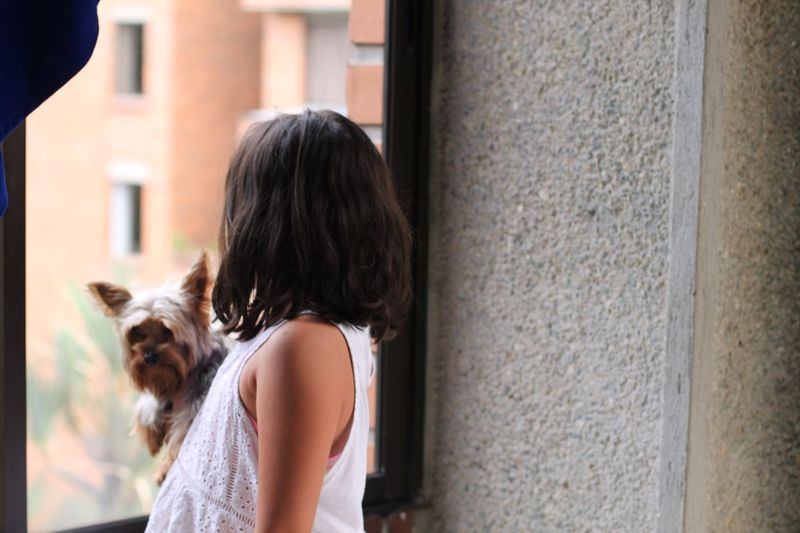 Side view of girl with dog standing by window at home