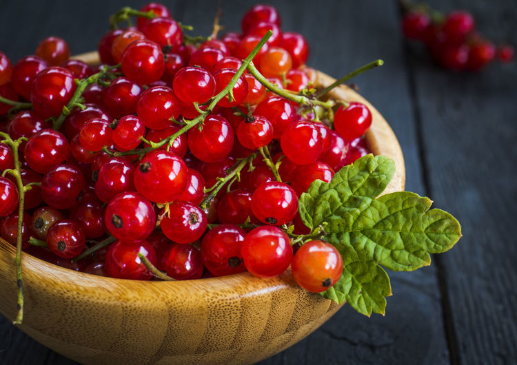 Close-up of red currents in bowl on table